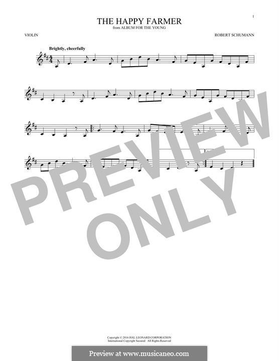 No.10 Fröhlicher Landmann (The Happy Farmer): para violino by Robert Schumann