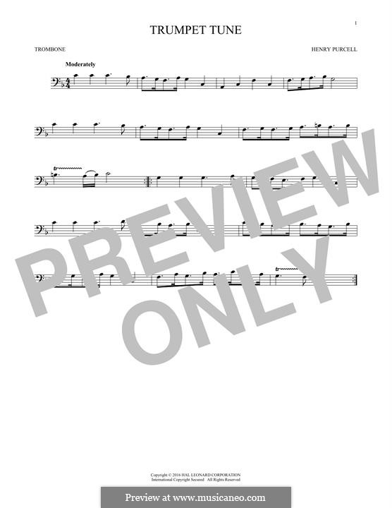 Trumpet tune and Air: para trombone by Henry Purcell