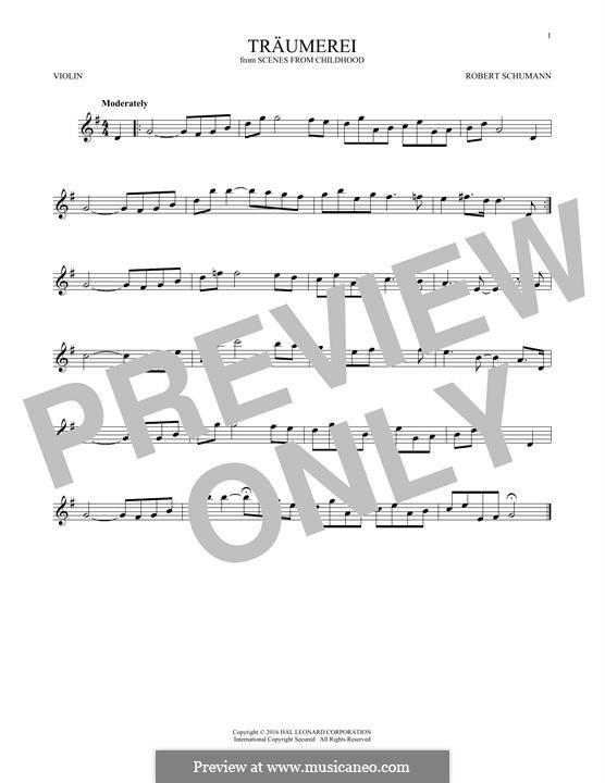 No.7 Träumerei (Dreaming): para violino by Robert Schumann