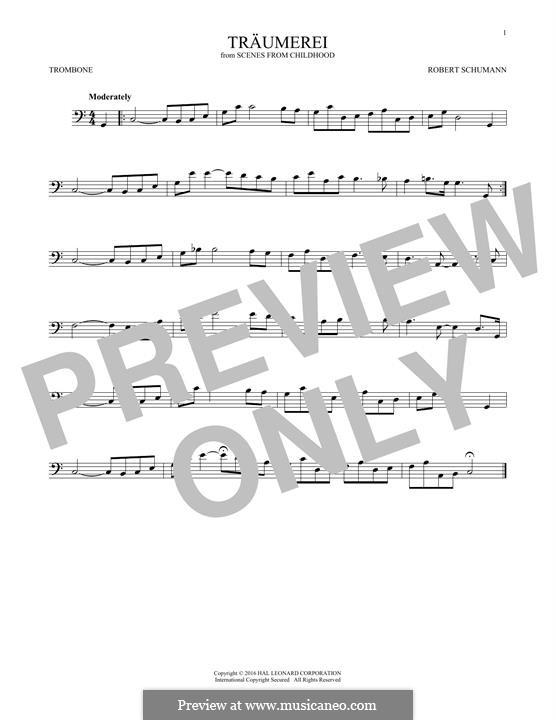 No.7 Träumerei (Dreaming): para trombone by Robert Schumann