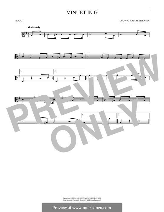 No.4 Minuet in G Major, BWV Anh.114: para viola by Johann Sebastian Bach