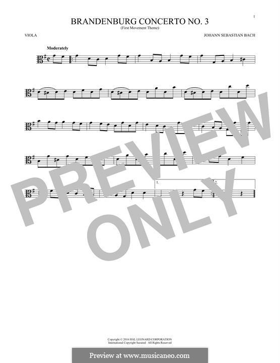 Brandenburg Concerto No.3 in G Major, BWV 1048: Movement I (Theme). Version for viola by Johann Sebastian Bach