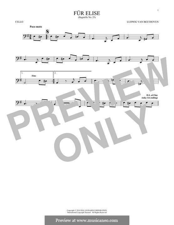 For Elise (Printable Scores): para violoncelo by Ludwig van Beethoven