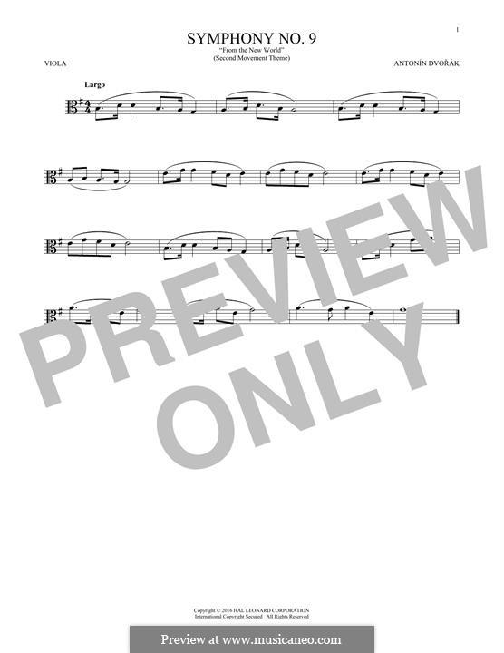 Movement II (Largo) Printable Scores: Theme, for viola by Antonín Dvořák