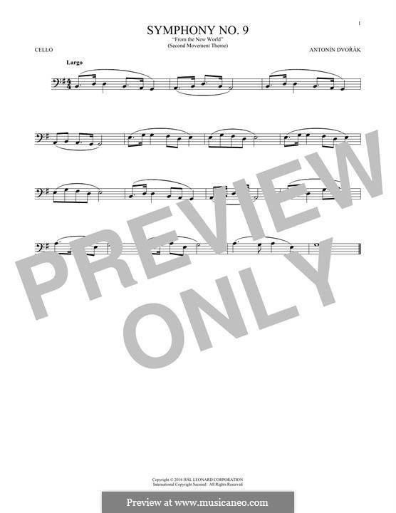 Movement II (Largo) Printable Scores: Theme, for cello by Antonín Dvořák