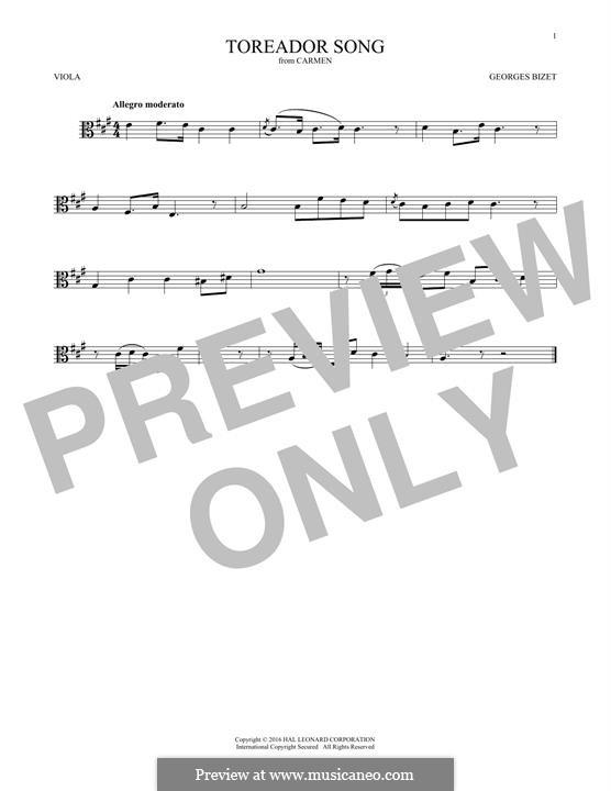 Toreador's Song: para viola by Georges Bizet