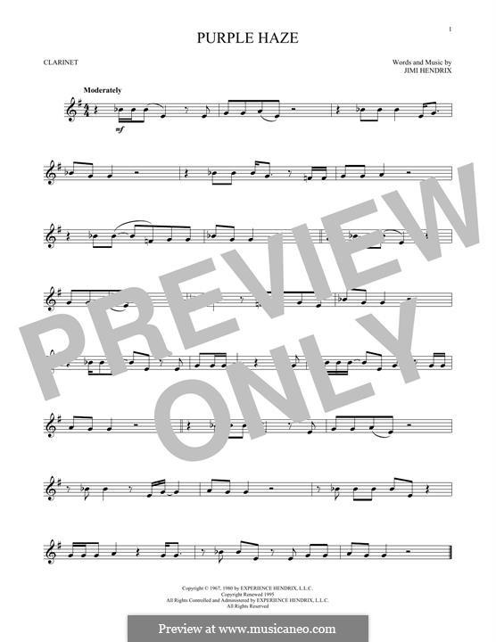 Purple Haze: para clarinete by Jimi Hendrix