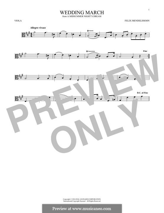 Wedding March (Printable Scores): Theme, for viola by Felix Mendelssohn-Bartholdy