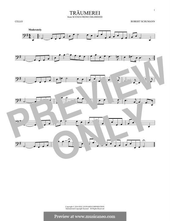 No.7 Träumerei (Dreaming): para violoncelo by Robert Schumann