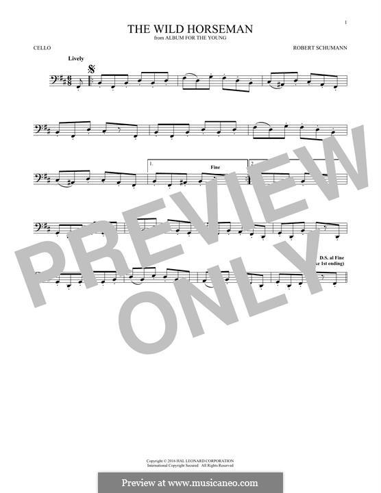 No.8 Wilder Reiter (The Wild Horseman): para violoncelo by Robert Schumann