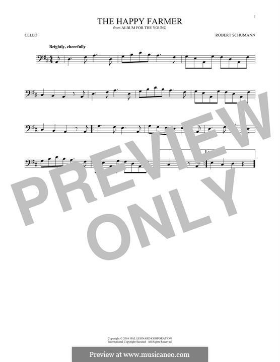 No.10 Fröhlicher Landmann (The Happy Farmer): para violoncelo by Robert Schumann
