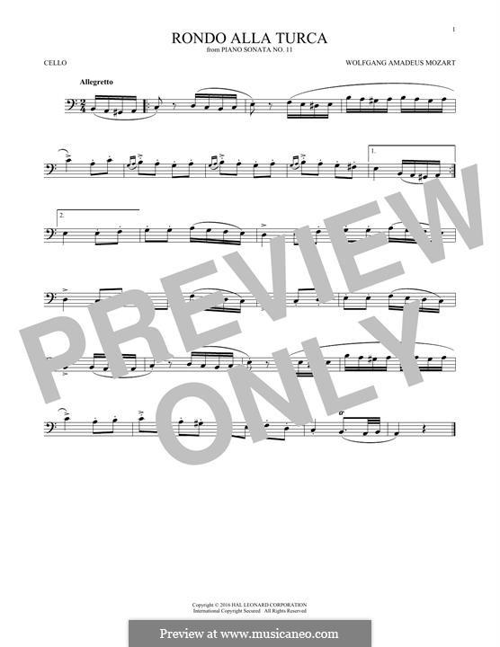 Rondo alla turca: For cello (fragment) by Wolfgang Amadeus Mozart