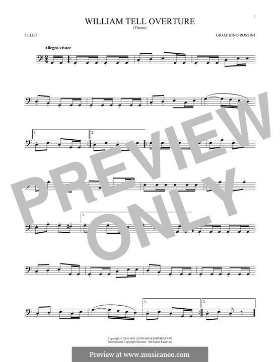 Overture (Printable Scores): para violoncelo by Gioacchino Rossini