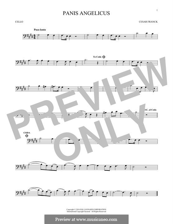 Panis Angelicus (O Lord Most Holy), Printable Scores: para violoncelo by César Franck