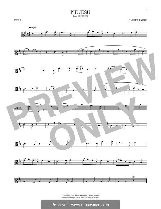 Requiem in D Minor, Op.48: Movement IV 'Pie Jesu', for viola by Gabriel Fauré