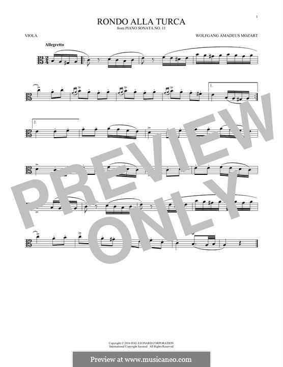 Rondo alla turca: For viola (fragment) by Wolfgang Amadeus Mozart