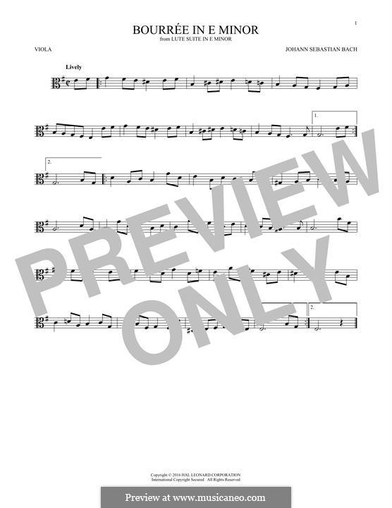 Suite for Lute (or Harpsichord) in E Minor, BWV 996: Bourrée. Version for viola by Johann Sebastian Bach