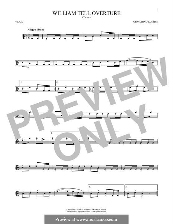 Overture (Printable Scores): para viola by Gioacchino Rossini
