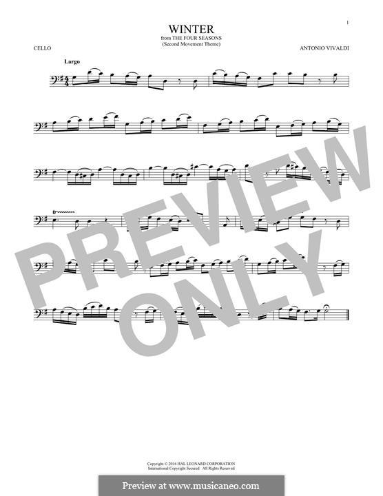 Violin Concerto No.4 in F Minor 'L'inverno', RV 297: Movement II. Arrangement for cello (Theme) by Antonio Vivaldi