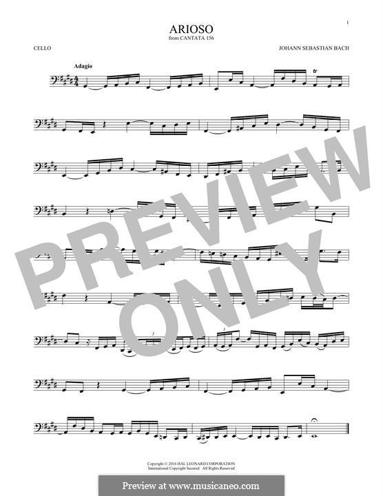 Arioso in G Major: para violoncelo by Johann Sebastian Bach