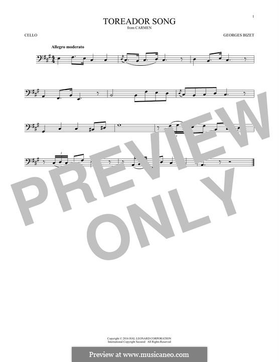 Toreador's Song: para violoncelo by Georges Bizet