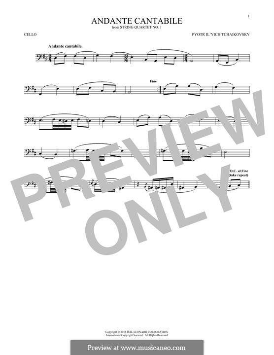 Movement II: Arrangement for cello (fragment) by Pyotr Tchaikovsky