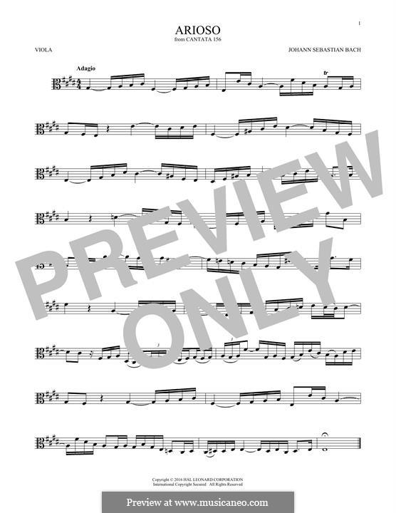 Arioso in G Major: para viola by Johann Sebastian Bach
