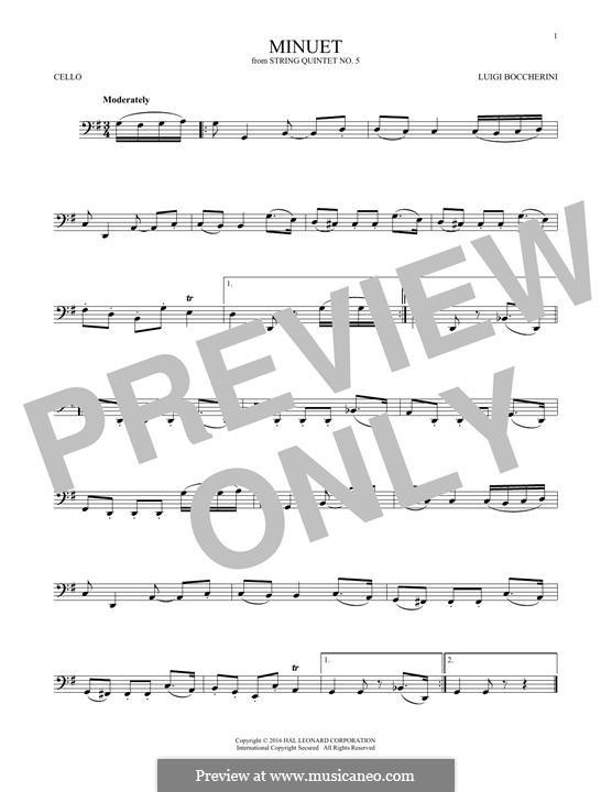 String Quintet No.5 in E Major, G.275 Op.107: Minuet, for cello by Luigi Boccherini