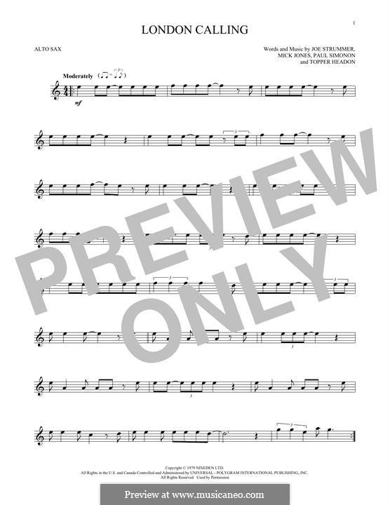 London Calling (The Clash): para Saxofone Alto by Joe Strummer, Mick Jones, Paul Simonon, Topper Headon