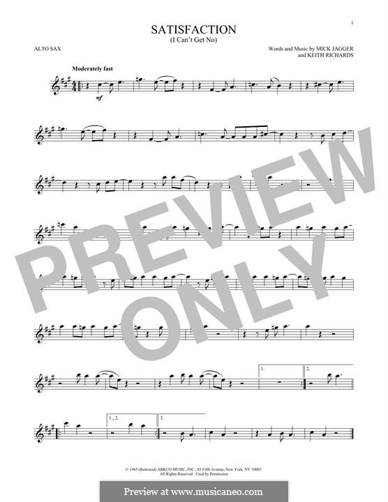 (I Can't Get No) Satisfaction (The Rolling Stones): para Saxofone Alto by Keith Richards, Mick Jagger