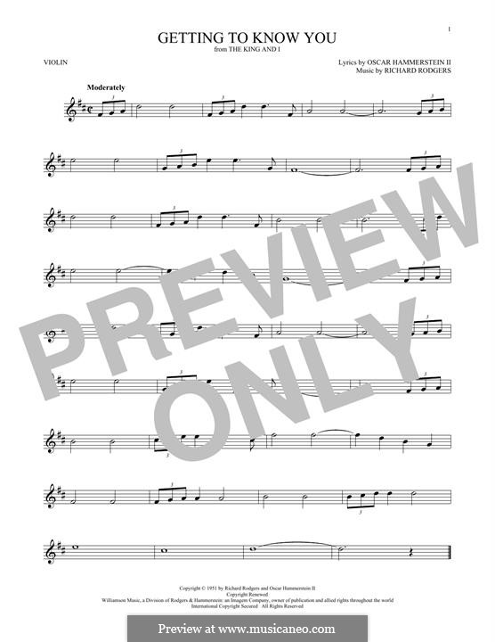 Getting to Know You (from The King and I): para violino by Richard Rodgers
