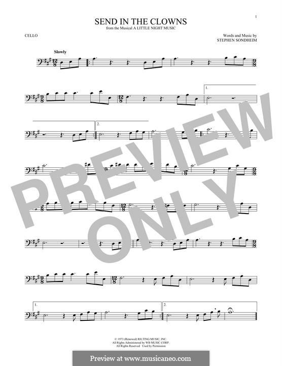 Send in the Clowns (from A Little Night Music): para violoncelo by Stephen Sondheim