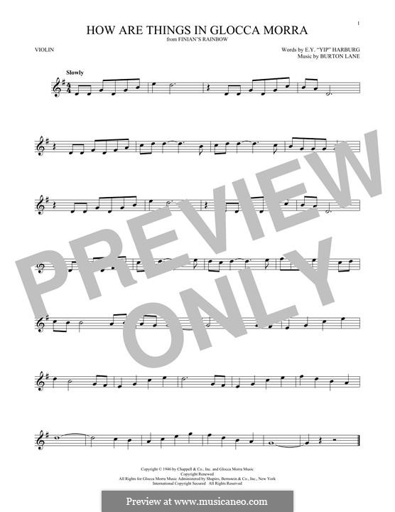 How are Things in Glocca Morra: para violino by Burton Lane