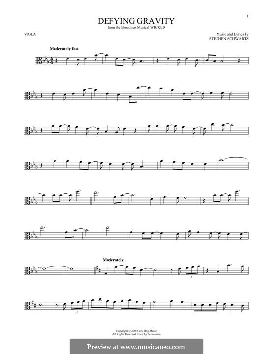 Defying Gravity (from the Broadway Musical Wicked): para viola by Stephen Schwartz