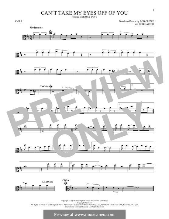 Can't Take My Eyes Off of You (Frankie Valli & The Four Seasons): para viola by Bob Crewe, Bob Gaudio