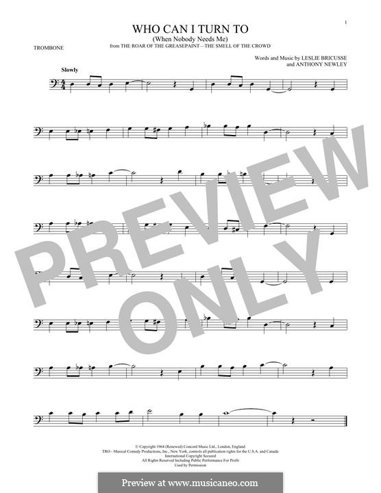 Who Can I Turn To?: para trombone by Anthony Newley, Leslie Bricusse