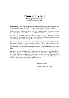 Piano Concerto for solo piano and strings, Op.649: Score and complete parts by Carson Cooman