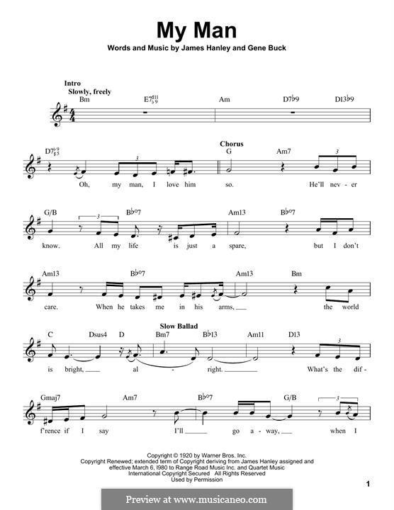 My Man (Ella Fitzgerald): melodia by James Frederick Hanley, Gene Buck