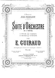 Suite for Orchestra in D Minor: arranjos para piano de quatro mãos by Ernest Guiraud