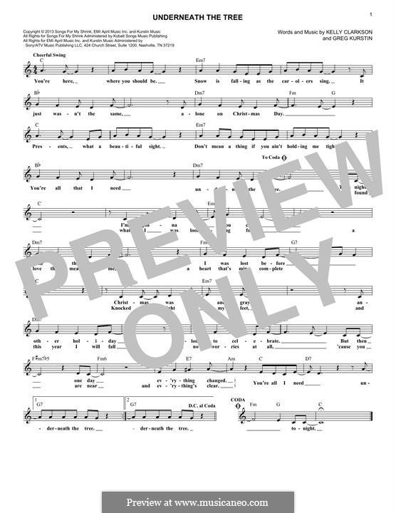 Underneath the Tree: melodia by Greg Kurstin, Kelly Clarkson