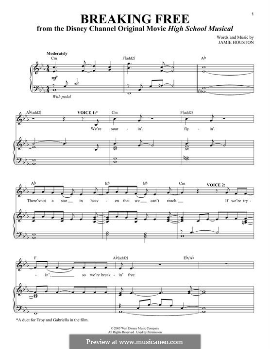 Breaking Free (from High School Musical): Para vocais e piano by Jamie Houston