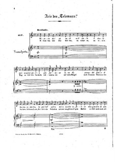 Telemaco, Wq.34: Aria 'Dimmi che un misero', for voice and piano by Christoph Willibald Gluck