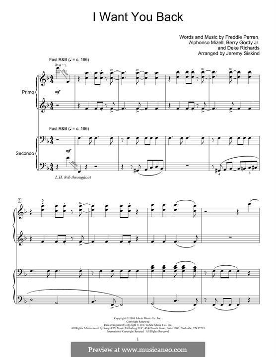 I Want You Back (The Jackson 5): para piano de quadro mãos by Alphonso Mizell, Berry Gordy, Deke Richards, Freddie Perren