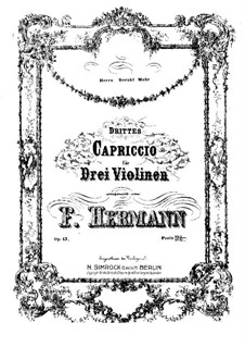 Capriccio No.3 for Three Violins, Op.13: violino parte II by Friedrich Hermann