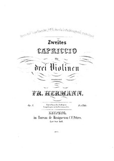 Capriccio No.2 for Three Violins, Op.5: violino parte II by Friedrich Hermann