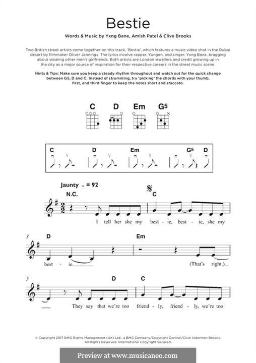 Bestie (Yungen): para ukulele by Amish Patel, Clive Brooks, Yxng Bane