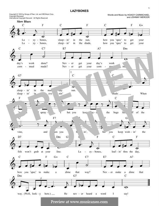 Lazybones: melodia by Johnny Mercer