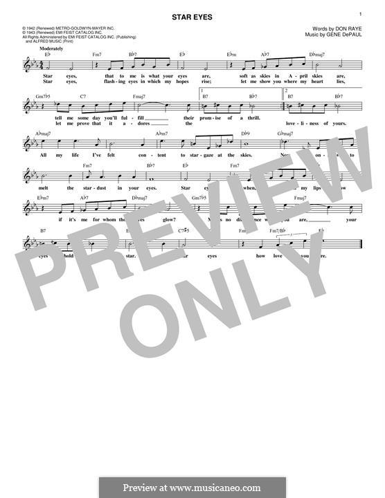 Star Eyes (Jimmy Dorsey): melodia by Gene de Paul
