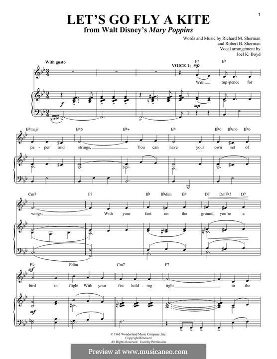 Let's Go Fly a Kite: Para vocais e piano by Richard M. Sherman, Robert B. Sherman