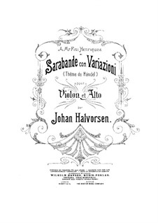 Saraband with Variations on Theme by Händel: partitura by Johan Halvorsen